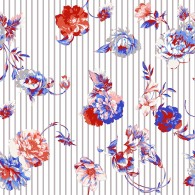 Falling Floral with Stripe Mix