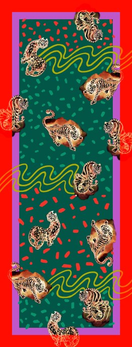 Haechi Korean Tiger Scarf_Green Gold